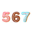 donut icing numbers digits - 5 6 7 font of vector image