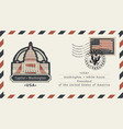 envelope with washington capitol and american flag vector image vector image