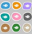 fish icon symbols Multicolored paper stickers vector image