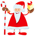 funny santa claus cartoon character with cane vector image vector image