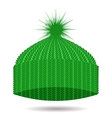 Green Knitted Cap Winter Hat vector image