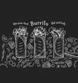 hand drawn burrito banner fast food on chalk vector image vector image