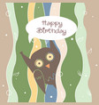 happy birthday greeting card with funny owl vector image