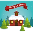 happy merry christmas landscape vector image