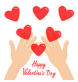 happy valentines day hands arms holding red vector image vector image
