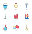 housekeeping icons set cartoon style vector image