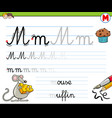 how to write letter m worksheet for kids vector image