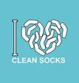 I love clean socks heart symbol of pure white sock vector image