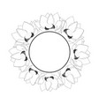 indian lotus outline banner wreath vector image vector image