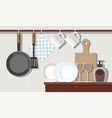 interior kitchen with furniture and crockery vector image vector image