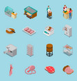 isometric butchery icons collection vector image vector image