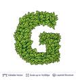letter g symbol of green leaves vector image