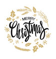 merry christmas lettering gold design vector image vector image