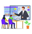 office workers talk with manager at work report vector image vector image