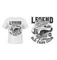 old retro cars club t-shirt mockup vector image vector image