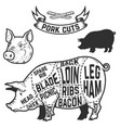 Pork cuts butcher diagram design element for vector image