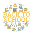 round concept with icons - back to school vector image vector image