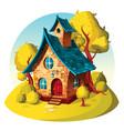 rustic brick house autumn landscape vector image
