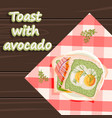 scrambled eggs red fish toast with avocado healthy vector image