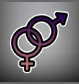 sex symbol sign violet gradient icon with vector image vector image