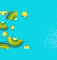 slice of kiwi and carambola top view kiwi and vector image