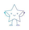 star kawaii caricature in color gradient vector image