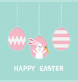 three painting egg shell rabbit hare with carrot vector image
