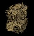 tiger naga lotus thailand tattoo drawing gold vector image vector image
