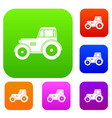 tractor set color collection vector image vector image