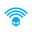 wi-fi death wifi mortal wireless connection skull vector image