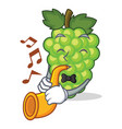 with trumpet green grapes mascot cartoon vector image vector image