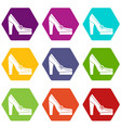 women shoes on platform icon set color hexahedron vector image vector image
