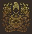 yoga meditation pose ornamental vector image