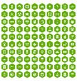 100 taxi icons hexagon green vector image vector image