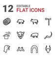 12 farm icons vector image vector image
