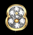 8 number gold and diamond bling vector image vector image