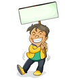 a boy holding board vector image vector image