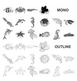 a variety of marine animals monochrom icons in set vector image vector image