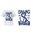 anchor t-shirt print mockup sailing and yachting vector image vector image