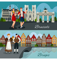 Belgian Cities Flat Style Compositions vector image vector image