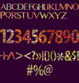 big set of separated alphabet letters numbers vector image