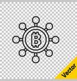 black line blockchain technology bitcoin icon vector image vector image