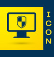 blue computer monitor and shield icon isolated on vector image