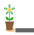 businessman hand holding growing paper money tree vector image vector image