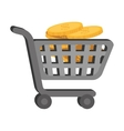 cart cash money coins vector image