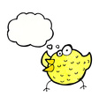 cartoon happy bird with thought bubble vector image vector image