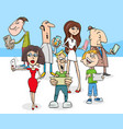 cartoon people with modern electronic devices vector image