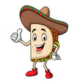 cartoon taco wearing a sombrero giving thumb up vector image vector image