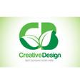cb green leaf letter design logo eco bio leaf vector image vector image