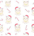 christmas seamless pattern with grey cat with vector image
